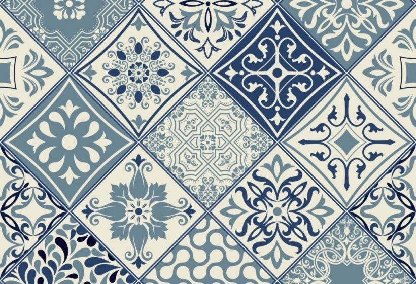 Tiles pattern vector with diagonal blue and white flowers